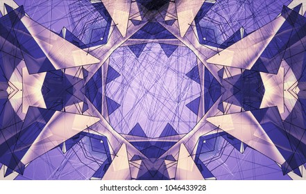 Violet kaleidoscope patterns. Decorative ornament mandala. Abstract flowers, elements and stars. Geometric design forms. Beautiful wallpaper, paintings, fabric, illustration, furniture print.