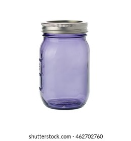 violet mason jar isolated on white background