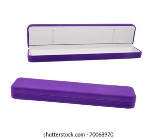 a violet necklace box