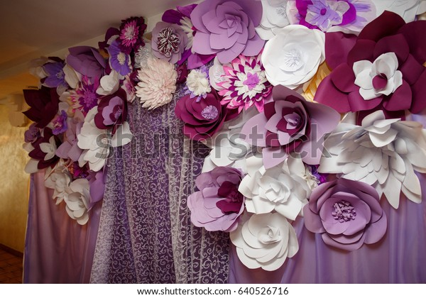 Violet Paper Flowers On Wedding Arch Stock Photo Edit Now 640526716