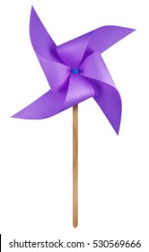 Violet paper windmill pinwheel isolated on white with Clipping Path