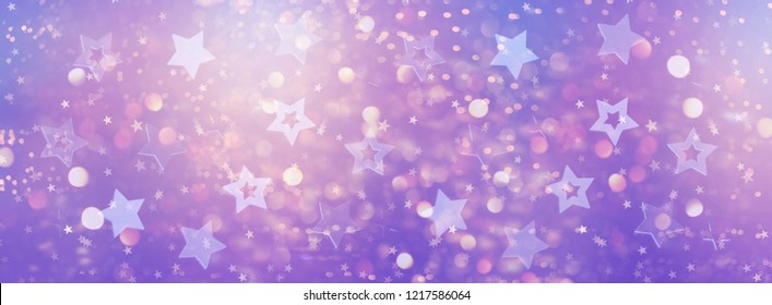 Violet, purple stars on gold background with bokeh. Texture for new year, birthday, baby shower party. Creative pattern. Banner.