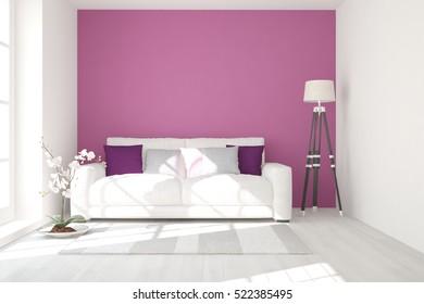 Violet room with sofa. Scandinavian interior design. 3D illustration