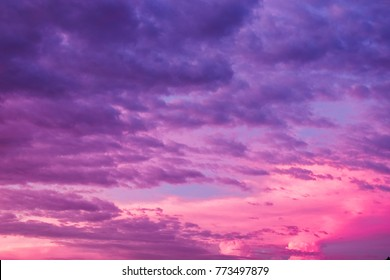 Violet sky cloud beautiful nature  texture abstract background. Color of the year 2018 ultra violet pantone.