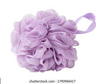 Violet sponge for shower or bath isolated on the white