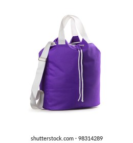 Violet sport bag on a white background. Isolated path included.