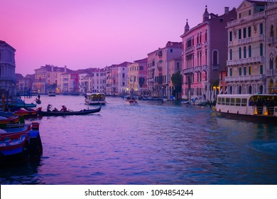 Violet sunset on Canal Grande in Venice, Italy