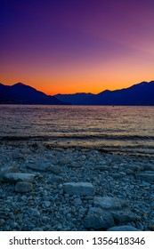 Violet sunset in the port of Ascona, Switzerland