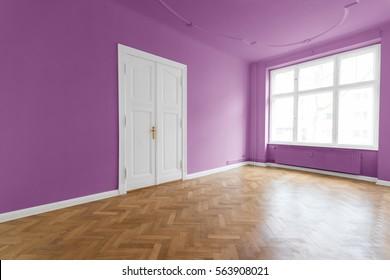 violet walls, pink room with wooden floor