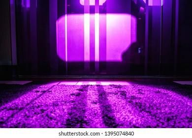 Violet window inside a ferryboat.