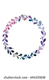 Violet wreath. Watercolor painting