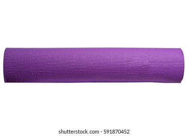 violet yoga mat on a white background ,isolated