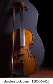 Violin and black background