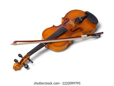 Violin with Bow Isolated on a White Background.