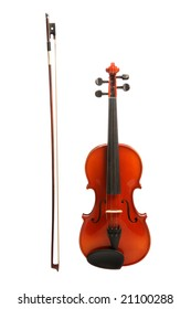Violin and bow, isolated on white