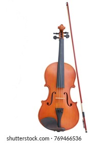 Violin with bow isolated on white background ,clipping path