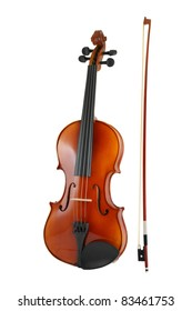 Violin and bow isolated on white background