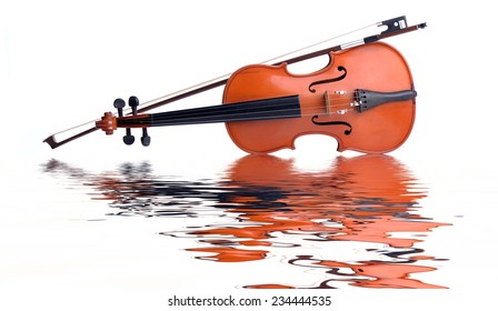 Violin and bow on water wave reflection on white background