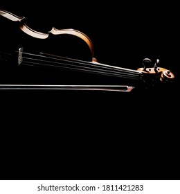 Violin with bow orchestral music instrument isolated on black