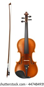 violin and bow. realistic raster illustration