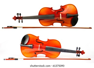 Violin and Bow at the white background, isolated, (series)