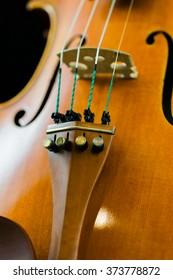 Violin bridge and fine tuners