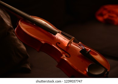 Violin close up isolated on dark background.