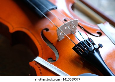 Violin close up of strings mechanism, tuning. Violin musician lesson abstract.
