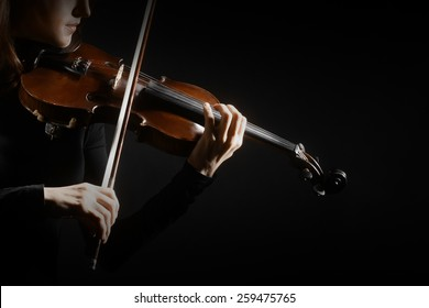 Violin closeup hands with music instrument Close up of player violinist
