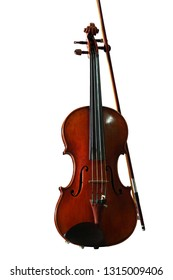Violin with fiddle stick on a white background