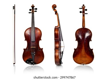 violin front, side and rear on white background