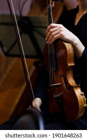 Violin in the hands of a musician in the orchestra close up