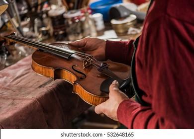 violin maker inspecting a violin
