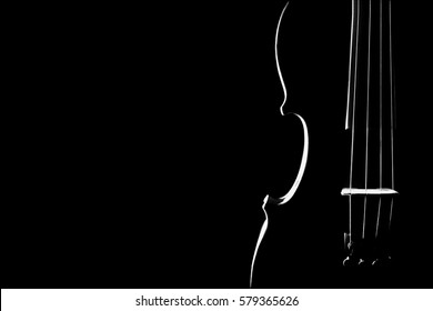 Violin music instrument closeup. Violin isolated on black background. Classical orchestra instruments close up