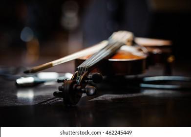 Violin music instrument of orchestra
