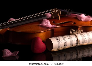 Violin, music notes and rose petals isolated on black background