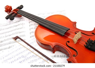 Violin with notes and bow, background