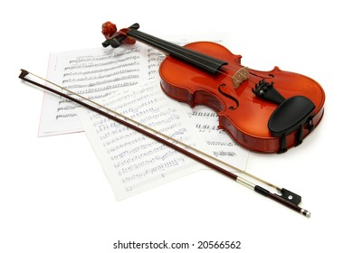 Violin with notes and bow, white background