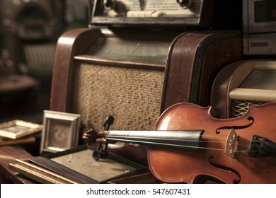 Violin and Old Radio in Vintage Style