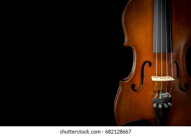 The violin on black background for isolated, Close up of violin on black background for cut of, Top view of violin musical for isolated