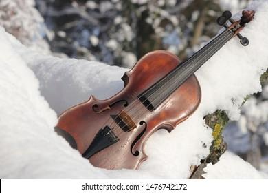 Violin on snow. Old brown wooden violin with 4 strings is outside (outdoors) on white cold snow when sun is shining. Concept music, instrument, winter. Theme (motive) for record, poster, compact disc