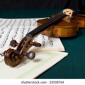 A violin on some sheet music