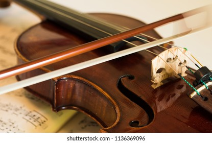 The violin on the table, Close up of violin on a music sheet