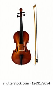 Violin on white background. Ancient musical instrument. Classical music.