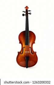 Violin on white background. Ancient stringed instrument. Classical music.