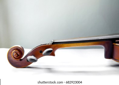 The violin on white background for isolated, Close up of violin on white background for cut of, Top view of violin musical for isolated