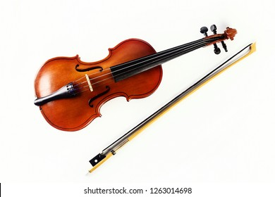 Violin on white background. Musical instrument. Classical music.