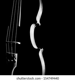 Violin orchestra silhouette musical instrument in black and white