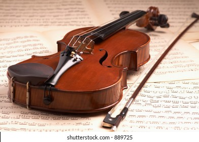 violin over music notes