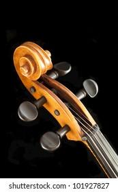 Violin pegbox and scroll on black